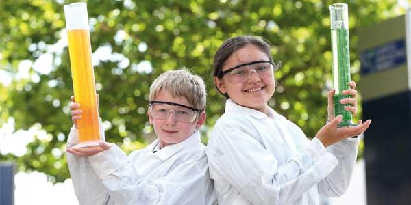 Year 8 Woodchurch High and Cowley International College 'Chemists of the Year', Matthew Davies and Jasmina Rai.