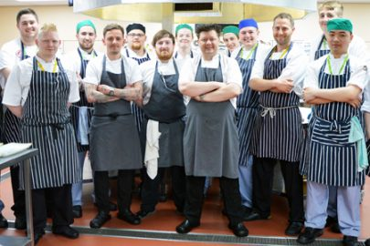 Chef Mark Greenaway with his team and students and staff from the L20 Hotel School