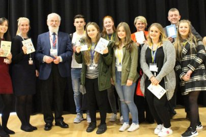 Rainford High School pupils with David Crystal OBE