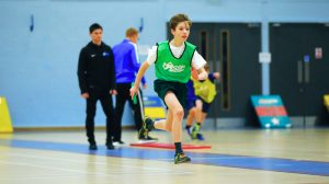 Sportshall athletics action