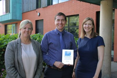 Head of School Tracey Greenough, Award winner Mr Jay Bradley and Lisa James (Pearson UK)