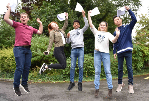 Jumping for joy at St Mary's College, Crosby