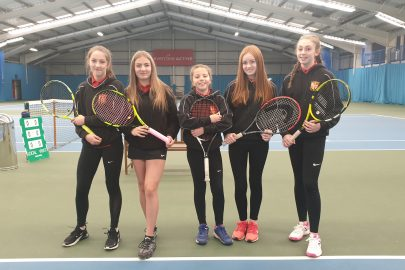Rainford High students Erin Scott, Phoebe Mitchell, Beth Kearney, Megan Edmunds and Rebecca Pearce