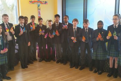 ASFA students made paper flames and wrote their own messages of hope and peace for the future.