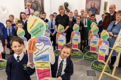 Pupils gather to celebrate the launch of The Kirkby Child collaboration