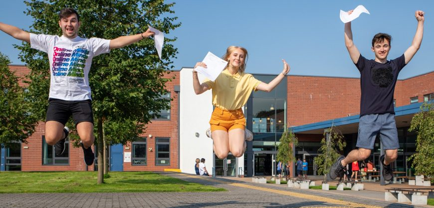 ALevel day Rainford High jumping for joy Jamie Blake Mollie Wrangles Tony Fitzmaurice celebrate their A-level results (1 of 1)-2