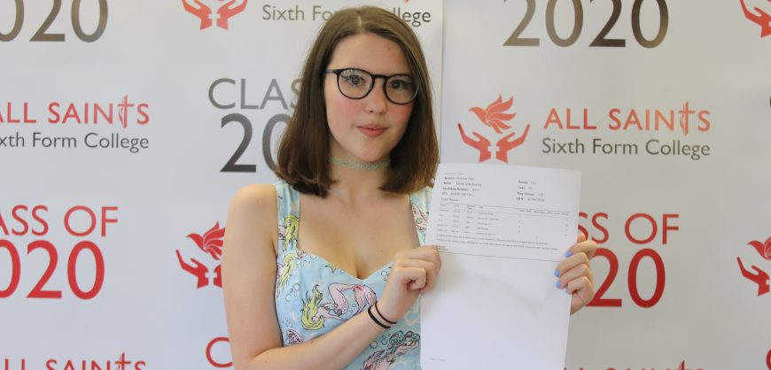 Year 13, 2020 Examination Results Day. Students from All Saints Sixth Form School arrive to collect their A-Level and Vocational results. A delighted Elisha Bushell with her exam results. She obtained an A, B and two C's and is going to do History at the University of Liverpool.