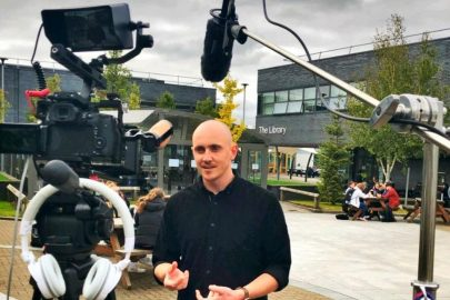 Matt Concannon filming at Winstanley College