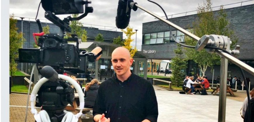 Matt Concannon filming at Winstanley College