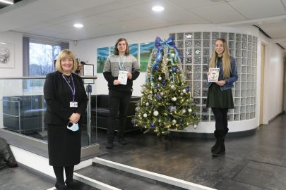 Joseph, Lilly and Louise Tippping with winning Winstnaley College Christmas Cards