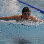 A swimmer pushed herself forward