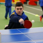 A nice backhand shot in Table Tennis