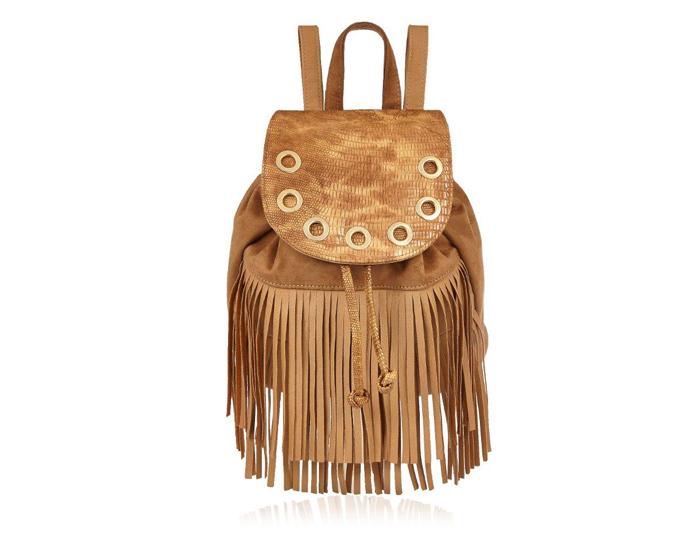 Tan fringed backpack